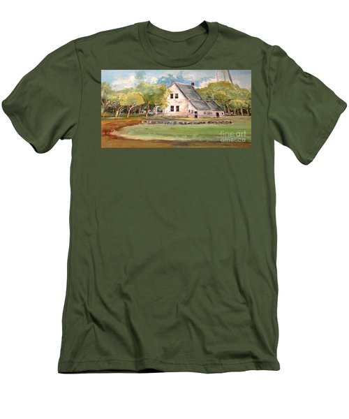 Men's T-Shirt (Slim Fit) featuring the painting Home Again by Linda Shackelford