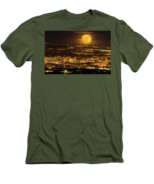 Home Sweet Hometown Bathed In The Glow Of The Super Moon  Men's T-Shirt (Slim Fit) by Bijan Pirnia
