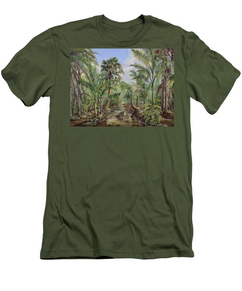 Men's T-Shirt (Slim Fit) featuring the painting Homestead Tree Farm by AnnaJo Vahle