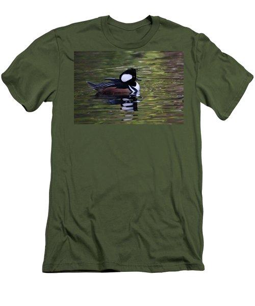 Hooded Merganser Duck Men's T-Shirt (Slim Fit) by Keith Boone