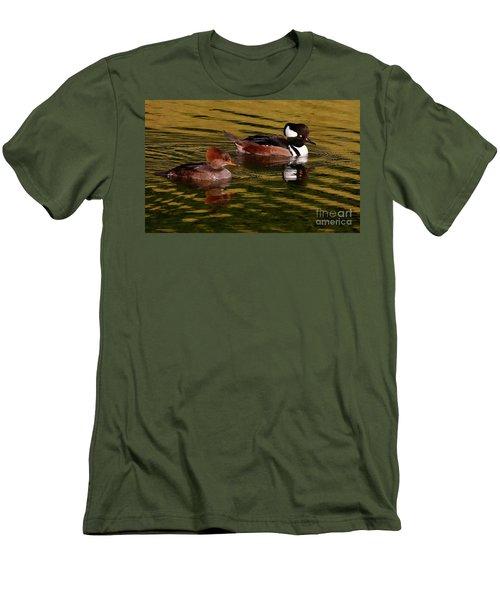 Hooded Merganser Couple Men's T-Shirt (Slim Fit) by Myrna Bradshaw