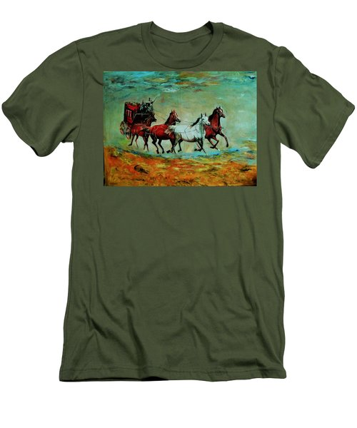 Horse Chariot Men's T-Shirt (Slim Fit) by Khalid Saeed