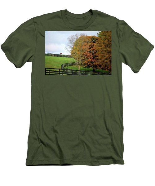 Men's T-Shirt (Slim Fit) featuring the photograph Horse Farm Country In The Fall by Sumoflam Photography
