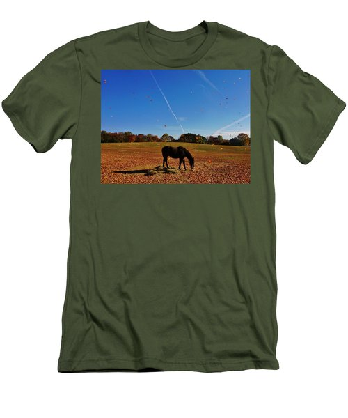 Horse Farm In The Fall Men's T-Shirt (Slim Fit) by Ed Sweeney