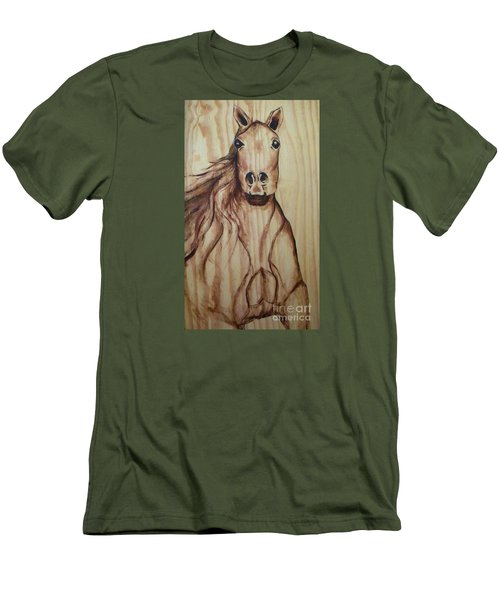 Men's T-Shirt (Slim Fit) featuring the painting Horse On Wood by Alga Washington
