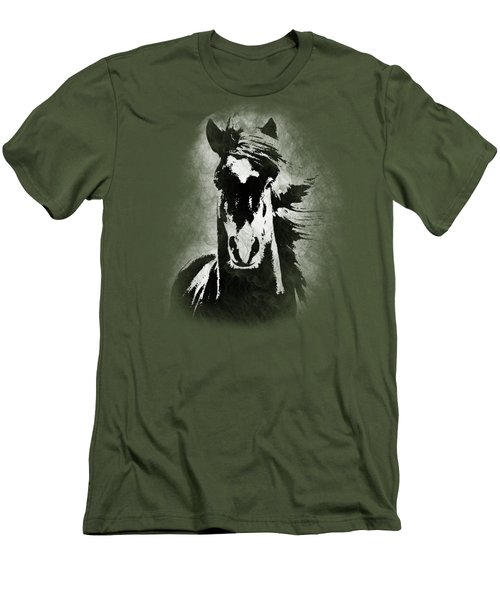 Horse Overlay Men's T-Shirt (Slim Fit) by Mim White