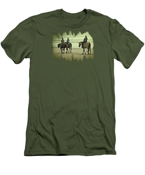 Men's T-Shirt (Slim Fit) featuring the photograph Horseback Riding On The Beach by Thom Zehrfeld