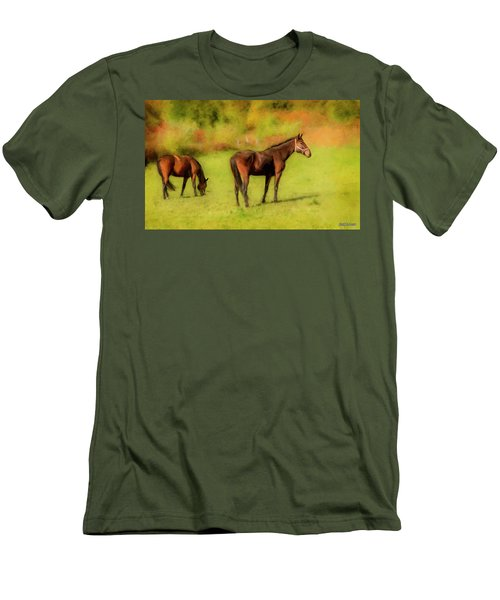 Horses In The Pasture Men's T-Shirt (Athletic Fit)
