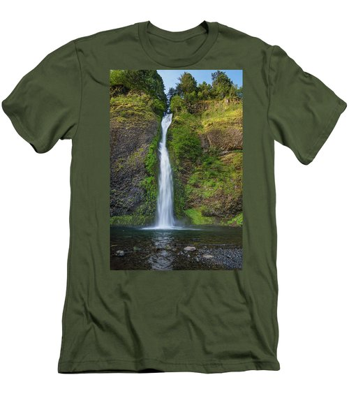Men's T-Shirt (Slim Fit) featuring the photograph Horsetail Falls In Spring by Greg Nyquist
