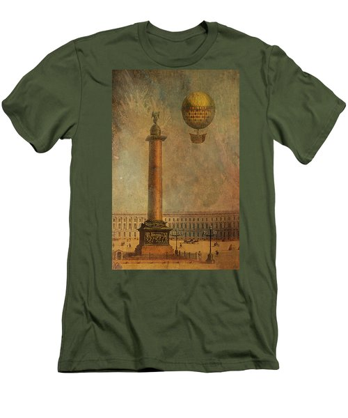 Men's T-Shirt (Slim Fit) featuring the digital art Hot Air Balloon Over St Petersburg And The Hermitage by Jeff Burgess