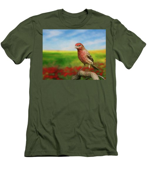 Men's T-Shirt (Slim Fit) featuring the photograph House Finch by Steven Richardson