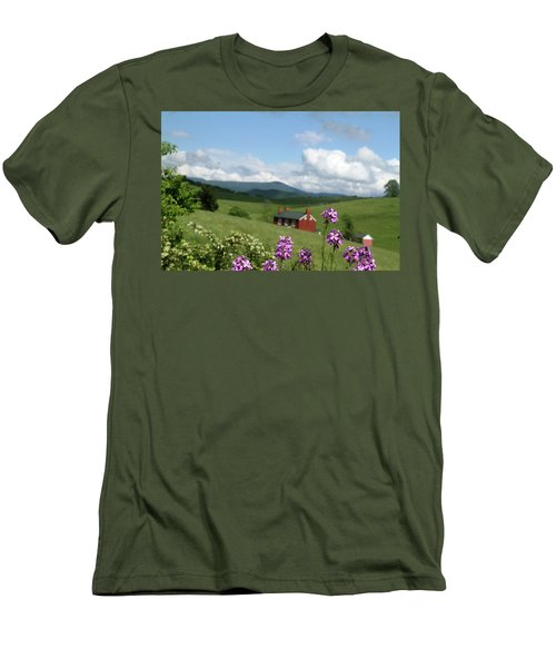 Men's T-Shirt (Slim Fit) featuring the photograph House On Hill In Lexington by Emanuel Tanjala