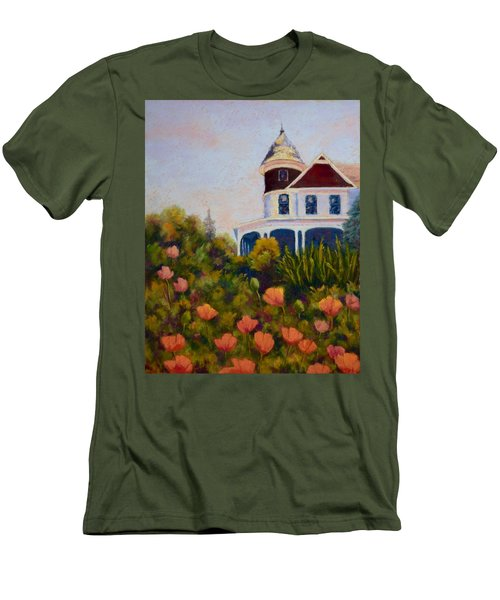 Men's T-Shirt (Slim Fit) featuring the painting House On The Hill by Nancy Jolley