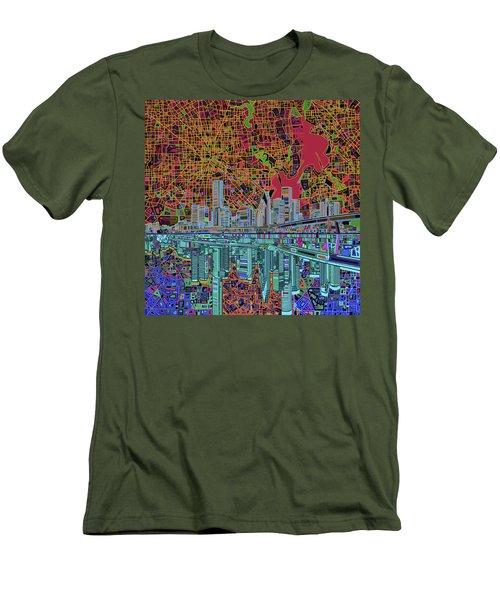 Houston Skyline Abstract 3 Men's T-Shirt (Slim Fit) by Bekim Art