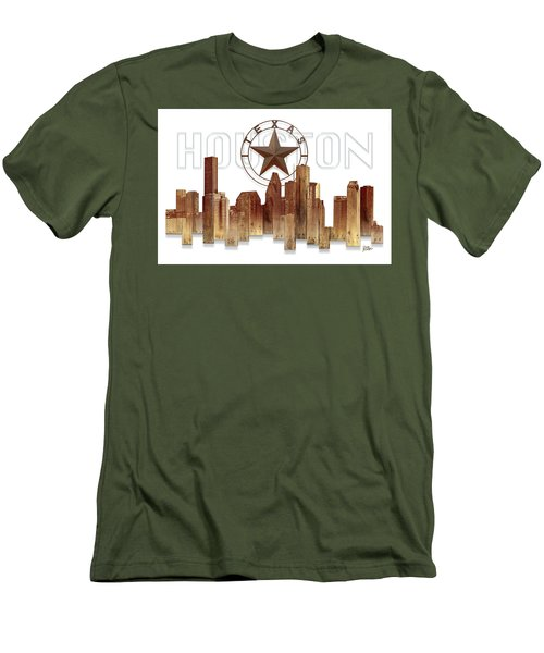 Men's T-Shirt (Slim Fit) featuring the painting Houston Texas Skyline by Doug Kreuger