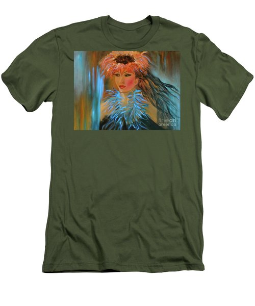 Hula In Turquoise Men's T-Shirt (Slim Fit) by Jenny Lee