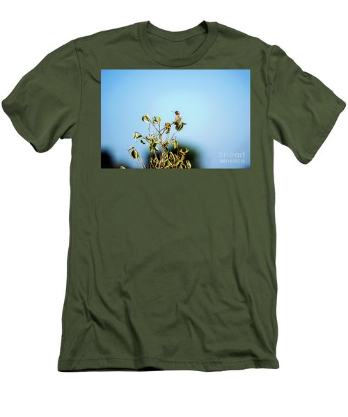 Men's T-Shirt (Slim Fit) featuring the photograph Humming Bird On A Branch by Micah May
