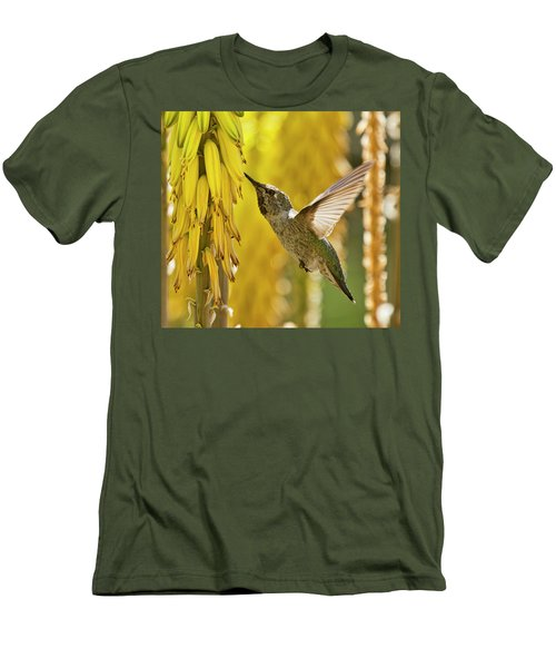 Men's T-Shirt (Athletic Fit) featuring the photograph Hummingbird Amongst The Spring Gold  by Saija Lehtonen