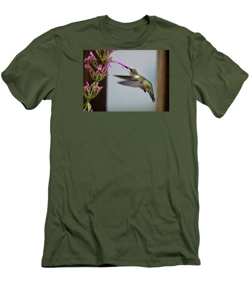 Hummingbird And Agastache Men's T-Shirt (Slim Fit) by Kathy Eickenberg