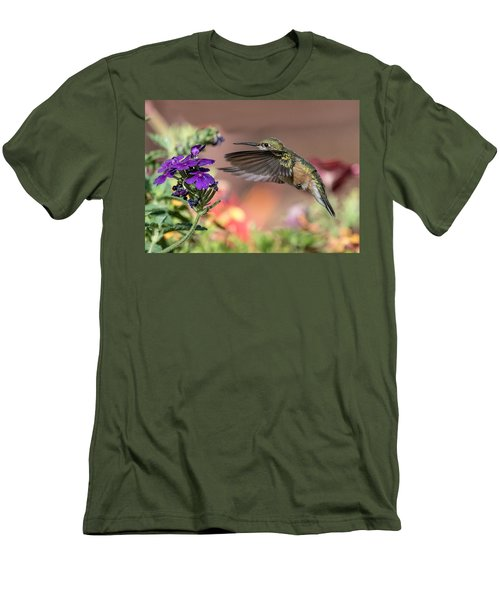 Hummingbird And Purple Flower Men's T-Shirt (Athletic Fit)
