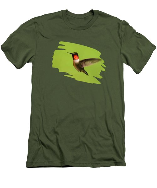 Men's T-Shirt (Athletic Fit) featuring the painting Hummingbird Defender by Christina Rollo