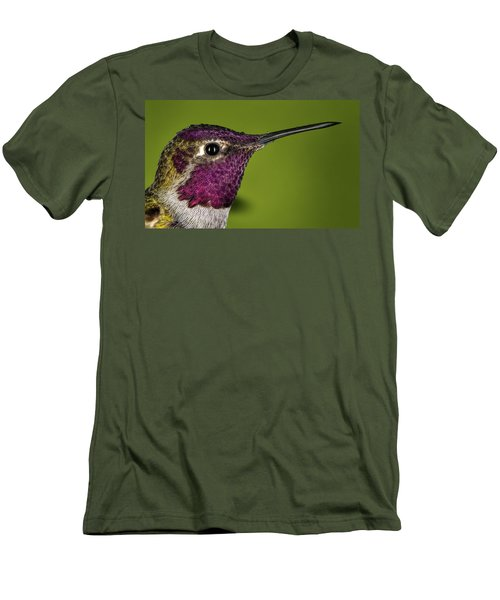Men's T-Shirt (Slim Fit) featuring the photograph Hummingbird Head Shot With Raindrops by William Lee