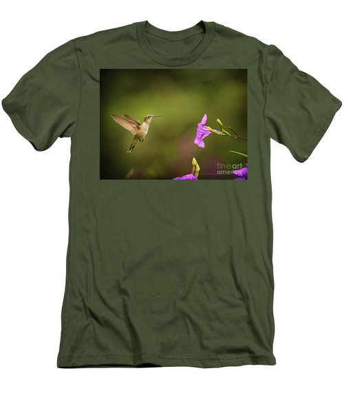 Hummingbird Pink Flower Men's T-Shirt (Athletic Fit)