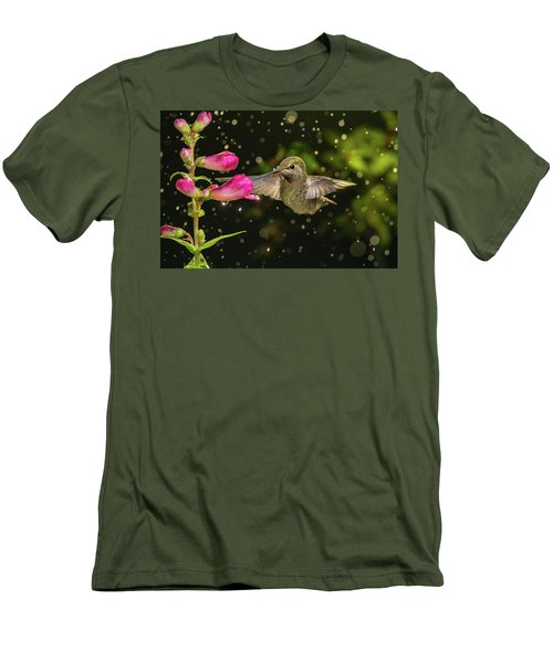 Men's T-Shirt (Athletic Fit) featuring the photograph Hummingbird Visits Flowers In Raining Day by William Lee