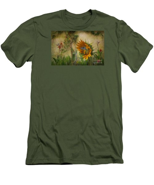Men's T-Shirt (Slim Fit) featuring the photograph Hummingbirds In My Garden by John  Kolenberg