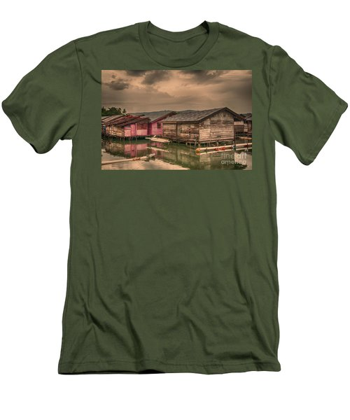 Men's T-Shirt (Slim Fit) featuring the photograph Huts In South Sulawesi by Charuhas Images
