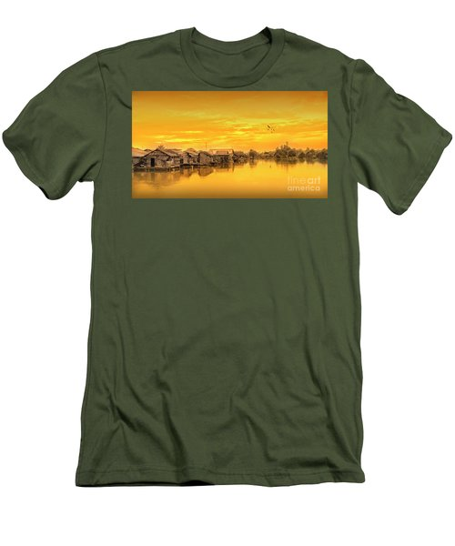 Men's T-Shirt (Slim Fit) featuring the photograph Huts Yellow by Charuhas Images