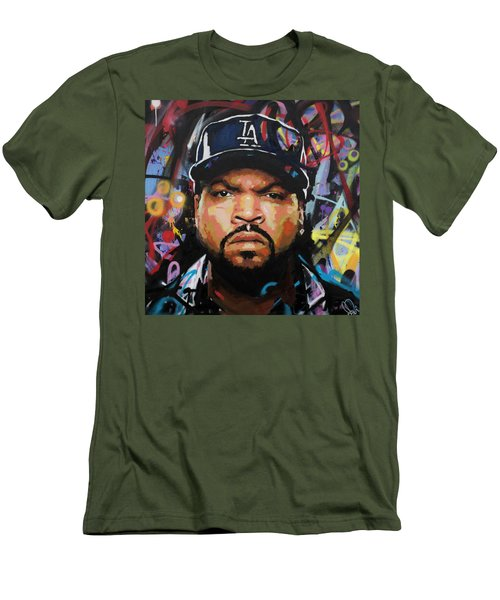 Men's T-Shirt (Slim Fit) featuring the painting Ice Cube by Richard Day