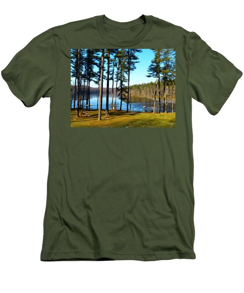 Men's T-Shirt (Slim Fit) featuring the photograph Ice On The Water by Donald C Morgan