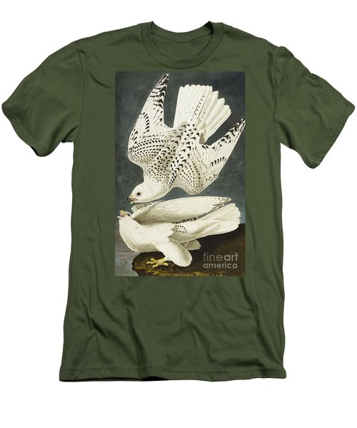 Iceland Or Jer Falcon Men's T-Shirt (Slim Fit) by John James Audubon