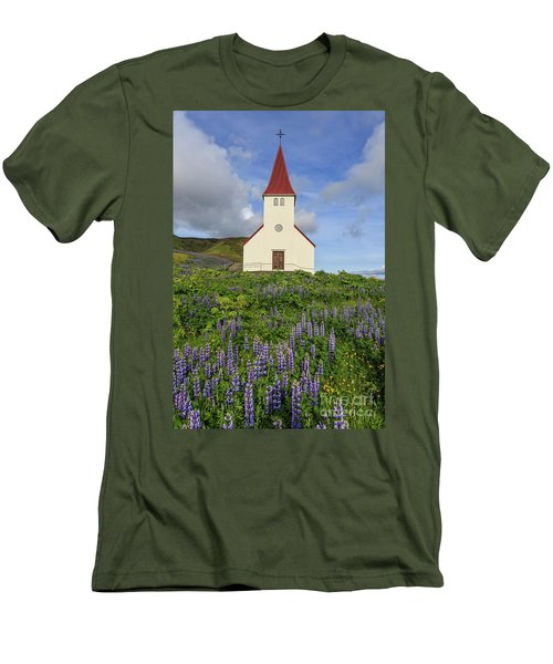Men's T-Shirt (Athletic Fit) featuring the photograph Icelandic Church Among The Fields Of Lupine by Edward Fielding
