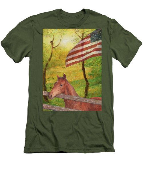 Illustrated Horse In Golden Meadow Men's T-Shirt (Slim Fit) by Judith Cheng