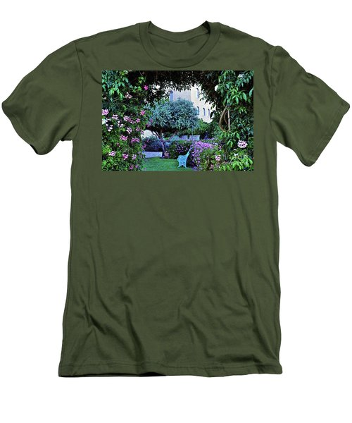 In The Garden At Mount Zion Hotel  Men's T-Shirt (Slim Fit) by Lydia Holly