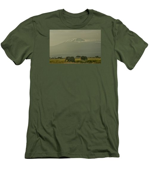 Men's T-Shirt (Slim Fit) featuring the photograph In The Shadow Of Kilimanjero by Gary Hall