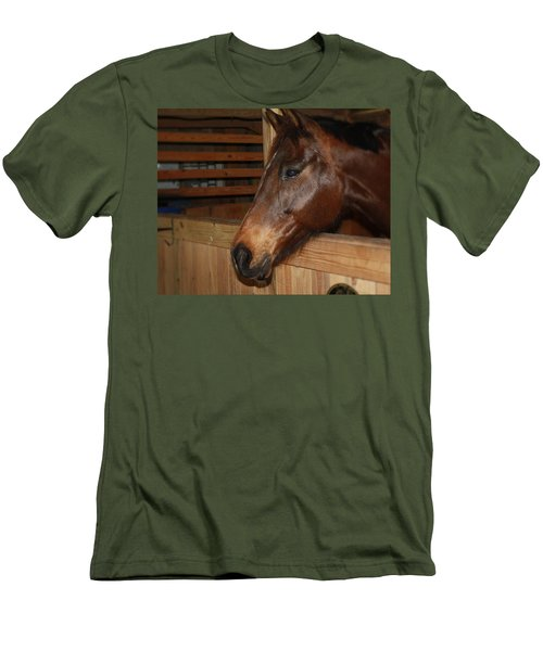 Men's T-Shirt (Slim Fit) featuring the painting In The Stall by Roena King