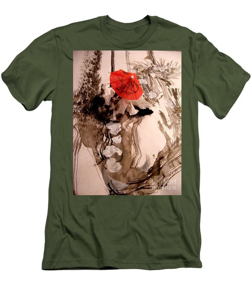 Men's T-Shirt (Slim Fit) featuring the mixed media In The Winter Garden by Nancy Kane Chapman