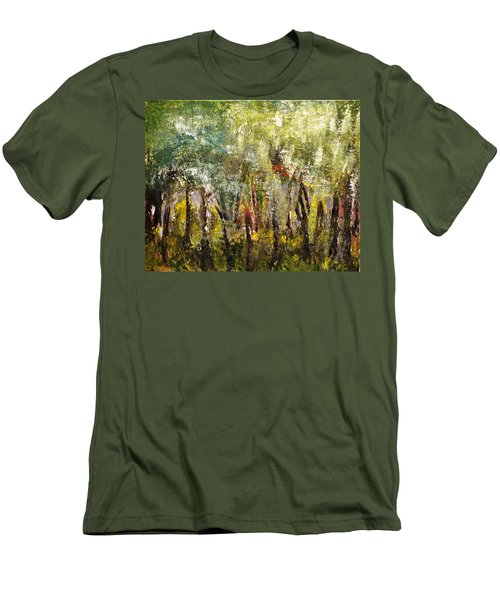 Men's T-Shirt (Slim Fit) featuring the painting In The Woods by Evelina Popilian