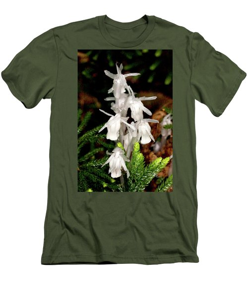 Indian Pipes On Club Moss Men's T-Shirt (Slim Fit) by Meta Gatschenberger