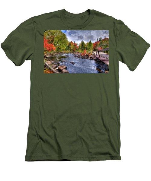 Indian Rapids Footbridge Men's T-Shirt (Slim Fit) by David Patterson