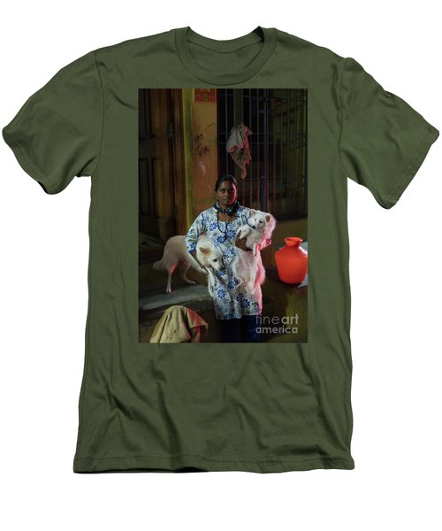 Men's T-Shirt (Slim Fit) featuring the photograph Indian Woman And Her Dogs by Mike Reid