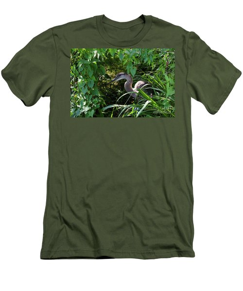 Injure Blue Heron Men's T-Shirt (Slim Fit) by Donna Brown