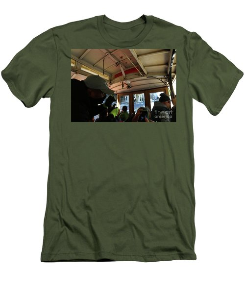 Men's T-Shirt (Slim Fit) featuring the photograph Inside A Cable Car by Steven Spak