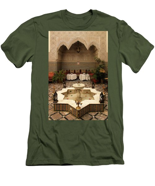 Interior Of A Traditional Riad In Fez Men's T-Shirt (Slim Fit) by Ralph A  Ledergerber-Photography