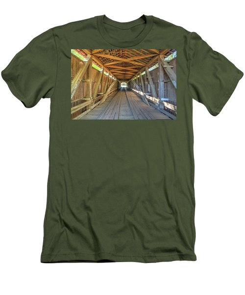 Interior View - Conley's Ford Covered Bridgee Men's T-Shirt (Slim Fit) by Harold Rau