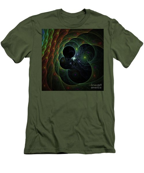 Men's T-Shirt (Slim Fit) featuring the digital art Into Space And Time by Deborah Benoit