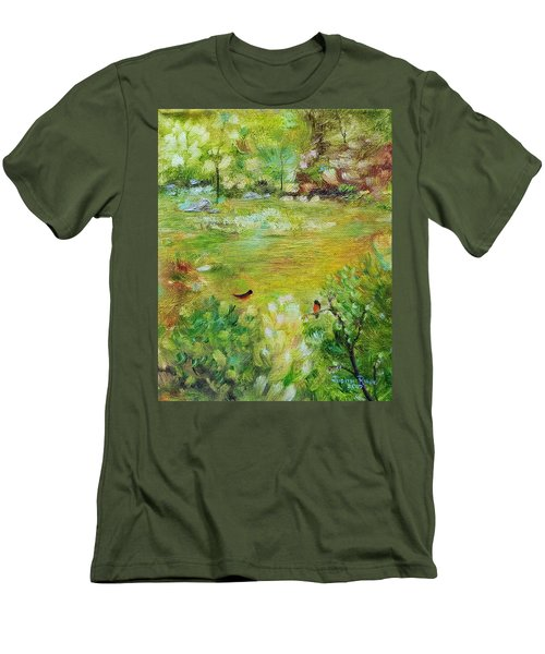Men's T-Shirt (Athletic Fit) featuring the painting Invincible Spring by Judith Rhue